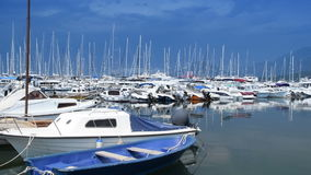 parked ships, boats, yachts in the port stock footage