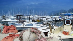 Parked ships, boats, yachts in the port, port of Bar the city of Bar, Montenegro 2016. stock footage