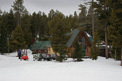 Parked Snow Mobiles Stock Photo