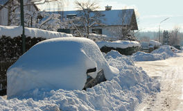 Parked snowbound car Royalty Free Stock Photos