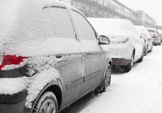 Parked snowy cars Royalty Free Stock Image