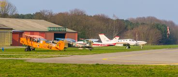 Parked stunt airplanes at seppe airport breda, Bosschenhoofd, north brabant, The Netherlands, March 30, 2019. Parked stunt airplanes at seppe airport breda royalty free stock photo