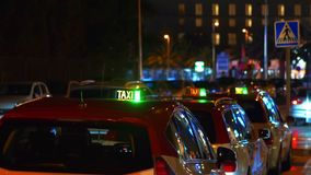 Taxi cabs in city