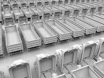 Parked trucks illustration Stock Photos