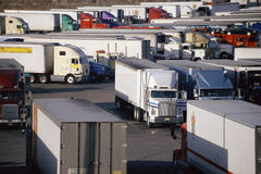 Parked Trucks at Truck Stop. Super Truck Stop, Barstow, California Royalty Free Stock Photo