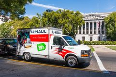 Parked U-Haul van. September 22, 2018 Sacramneto / CA / USA - U-Haul van parked in the downtown area, in front of the California Capitol State building royalty free stock photos