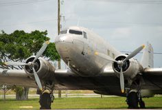 Parked vintage airliner Stock Photography