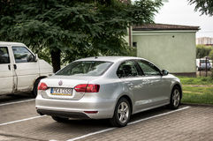 Parked Volkswagen Jetta. Parked gray Volkswagen Jetta car on a parking spot on August 2017 in Poznan, Poland Royalty Free Stock Images