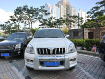 Parked white prado Royalty Free Stock Images
