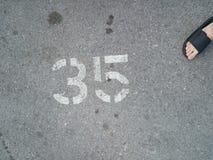 Parkeerhaven nr 35 stock foto's