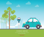 Parkeerterrein met parkeermeter op de achtergrond van de stadsmening Royalty-vrije Stock Afbeeldingen