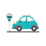 Parkeerterrein met parkeermeter op witte achtergrond Royalty-vrije Stock Foto