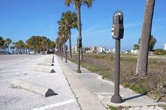 Parkeerterrein met vele meters Stock Fotografie