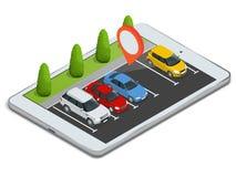 Parkeerterrein op laptop wordt getoond die Draadloos apparaat met app van de locaterkaart apparaat Vector vlakke 3d isometrische  Stock Afbeeldingen