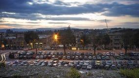 Parkeerterrein in oude stad Stock Fotografie