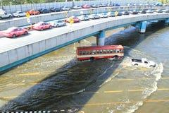 Parkeerterrein in rij op een brug vermijden overstromend Stock Foto