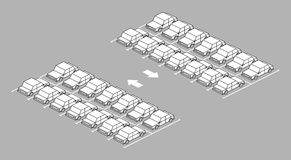 Parkeerterreinhoogtepunt met pijl op weg Stock Foto