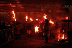 Parkelj European traditional mask. PODKOREN, SLOVENIJA - NOVEMBER 27th 2015:  Krampus (devil) masks gathering on the main square at traditional procession Stock Photo