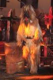 Parkelj European traditional mask. PODKOREN, SLOVENIJA - NOVEMBER 27th 2015: Unidentified man wears Krampus (devil) mask at traditional procession Parkelj Stock Photography