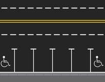 Parken durch die Straßenansicht von oben Zwei leere Sitze Hintergrund für Webdesign oder Druck Abbildung Stockbild