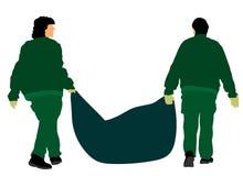 Parken Sie Arbeitskräfte im Freien mit Tasche des Blattabfalls, Abfall, Vektor Landschaftsgestalter-Foliage-Reinigung lizenzfreie abbildung
