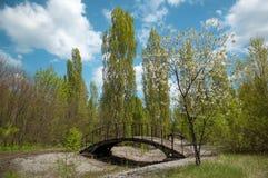 Parken Sie Brücke in Pripyat-Stadt in der Tschornobyl-Ausschluss-Zone Stockfotografie