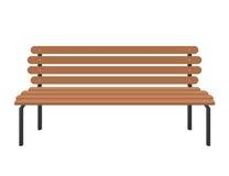 Parken Sie braune Holzbank auf Weiß in der flachen Art Stockfoto