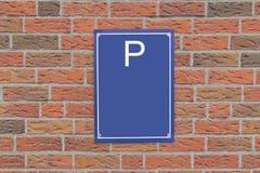 Parkendes Zeichen und Backsteinmauer Freier Raum lizenzfreie abbildung
