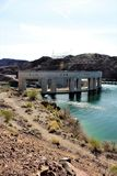Parker Dam, Parker, Arizona, La Paz County, United States. Scenic Parker Dam in the desert located in Parker, Arizona, La Paz County in the United States owned stock image