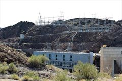 Parker Dam, Parker, Arizona, La Paz County, United States. Scenic Parker Dam power plant in the desert located in Parker, Arizona, La Paz County in the United stock photo