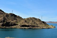 Parker Dam, Parker, Arizona, La Paz County, United States. Scenic Parker Dam spillway in the desert located in Parker, Arizona, La Paz County in the United stock images