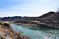 Parker Dam, Parker, Arizona, La Paz County, United States. Scenic Parker Dam spillway in the desert located in Parker, Arizona, La Paz County in the United stock image