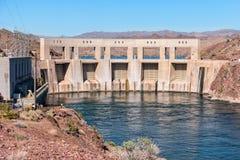 Parker Dam and the Colorado River. Parker Dam backs up Lake Havasu on the Colorado River Stock Photos