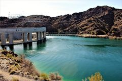 Parker Dam, Parker, Arizona, La Paz County, United States. Scenic Parker Dam in the desert located in Parker, Arizona, La Paz County in the United States owned royalty free stock photo