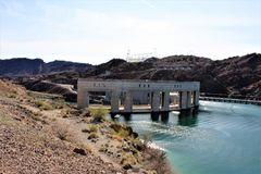 Parker Dam, Parker, Arizona, La Paz County, United States. Scenic Parker Dam in the desert located in Parker, Arizona, La Paz County in the United States owned stock photos