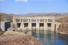 USA, CA, AZ: Parker Dam and Power Plant. Parker Dam spans the Colorado River between Arizona and California 155 miles downstream of Hoover Dam. It was built stock photos