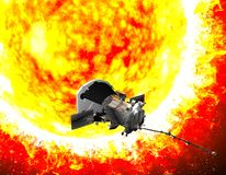 Parker Solar Probe traveling to the sun. The purpose of the probe is to carefully analyze the Sun and its solar wind. Elements of this image are furnished by stock photo