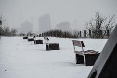 Parkera bänkar i rad utanför i vinter Arkivfoton