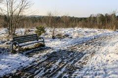 Parkera bänken i den snöig bygden Arkivbild