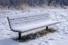 Parkera bänken i vinter Arkivbilder