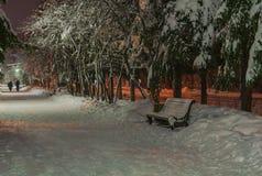 Parkera bänken i vintergränd royaltyfri bild