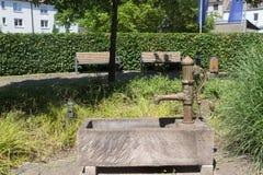 Parkera bänken och springbrunnen Royaltyfri Bild