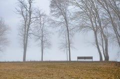 Parkera bänken på en dimmig nedgångdag Arkivfoto