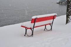 Parkera bänken som täckas i snö Arkivbild
