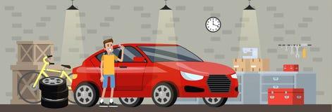 Parkera bilen i garage inre i huset med den röda bilen vektor illustrationer