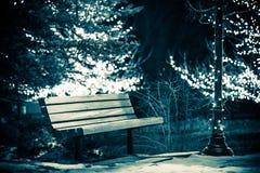 Parkera bänken i vinter Arkivfoto