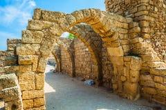 Parkera Caesarea på medelhavet Arkivbilder