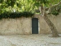 Parkera den gröna dörren med trädet Royaltyfria Foton