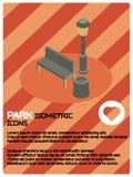Parkera den isometriska affischen för färg Fotografering för Bildbyråer