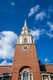 Parkera det kyrkliga tornet för gatan - Boston, Massachusetts, USA Royaltyfri Fotografi
